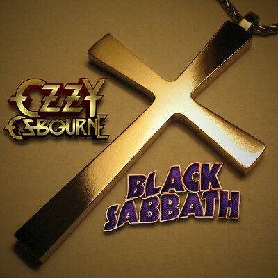 Black Sabbath Ozzy Style Cross. Stainless Steel Necklace Pendant.
