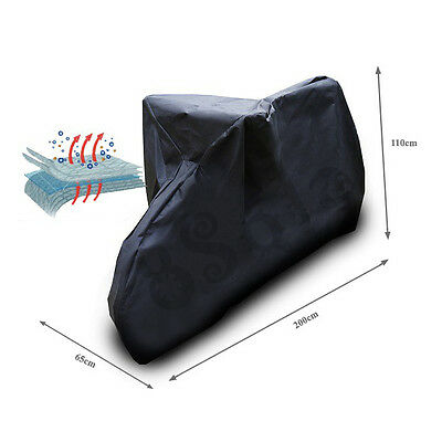 Bicycle Scooter Waterproof Snow Proof Universal Outdoor Cover 200x110x65cm Black
