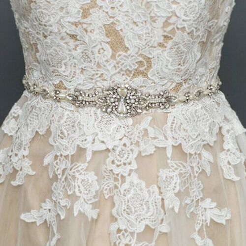 Pearl and crystal bridal belt on off white sash