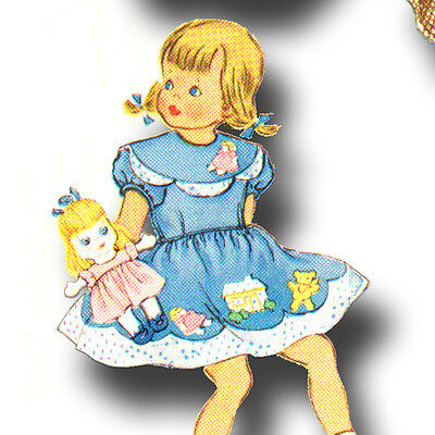 Vintage Girl's Goldilocks Embroidery Applique Dress & Doll Pattern ~ size 2
