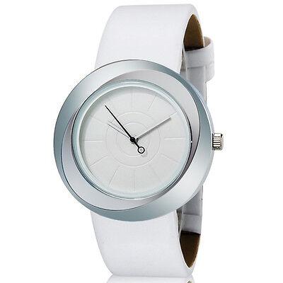 White Fashion MITINA Women&Girl's Round Analog Watch with Faux Leather Strap