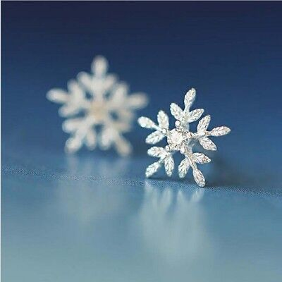 925 Stamped Sterling Silver With Zircon Snowflake Stud Earrings Christmas Gift