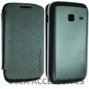 Samsung Galaxy Y Duos S6102  Battery Back Leather Case Cover Wallet Flip Slim