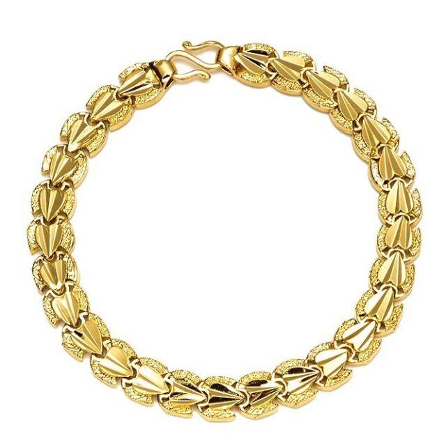 "Chain Bracelet Womens: 18k Yellow Gold Filled Womens Bracelet 7.3"" Chain Charm"