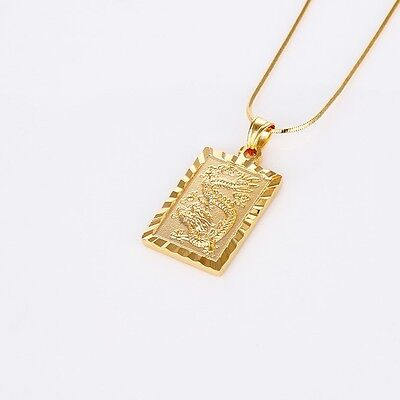 Dragon Pendant Fashion 18K Yellow Gold Filled Mens Womens Necklace 18 Link