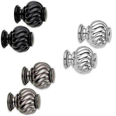 - 2 Cambria Premier Twist Ball Finials w/ Hardware - Black Nickel Graphite - NIP
