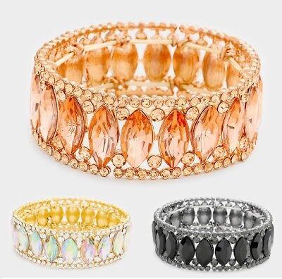 Wide 1 Crystal Rhinestone Wedding Bridal Stretch Bangle Bracelet Marquise Almond