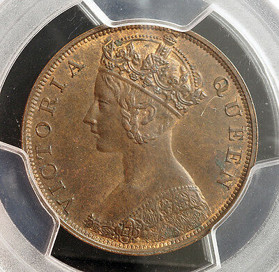 1863 HONG KONG QUEEN VICTORIA. BEAUTIFUL BRONZE CENT COIN. PCGS MS 64 BN