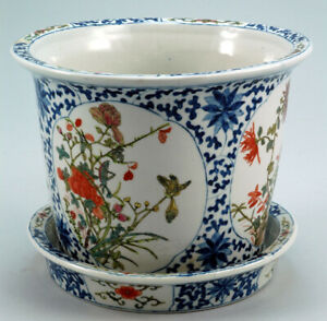 Chinese clay or porcelain flower pot or planter with plate