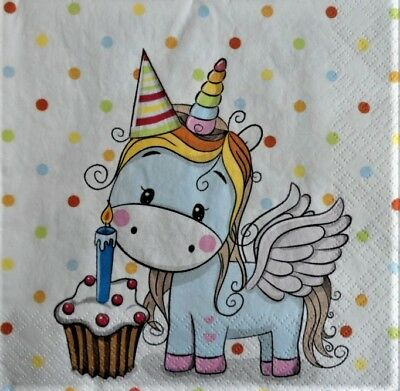 4 x Single Paper Napkins Sweet Unicorn for Decoupage and Crafting b7