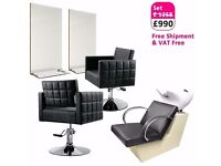Salon Furniture Package with Salon Backwash, Salon Mirror and Salon Chairs