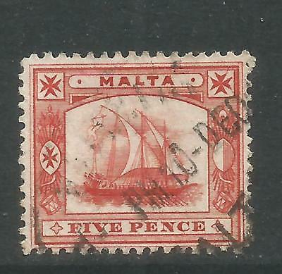 Malta 1899 Ancient Galley 5p brown red--Attractive Ship Topical (16) used