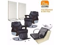 Barber Chair and Barbershop Furniture Package for Sale with Barbershop Mirrors