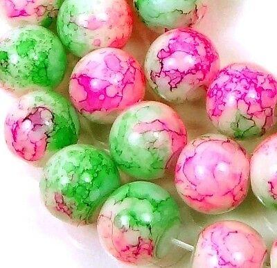 "8mm Baking Varnish Glass Round Beads - Pink Green 15.5"""