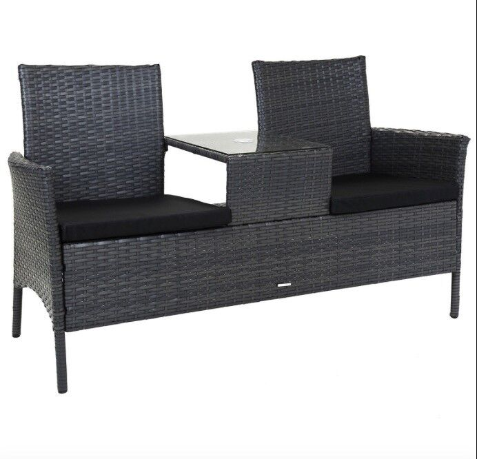 Charles bentley rattan companion love seat bench outdoor for Furniture kidderminster