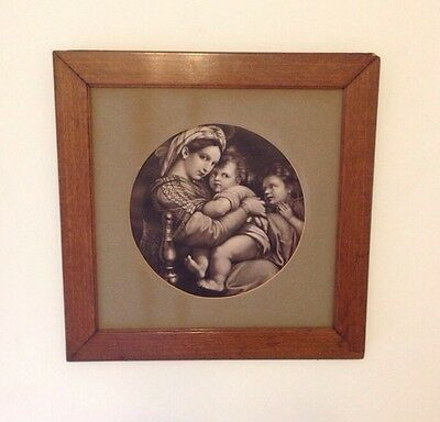 Antique Italy Madonna Della Seggiola Raffaello Sanzio Wood Framed Print