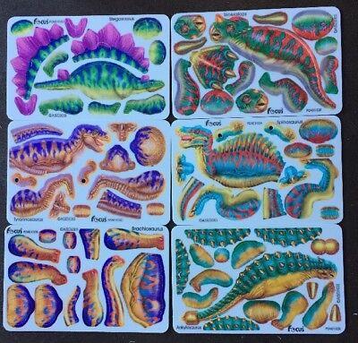 Lot of 12 Dinosaur Cards 3D Puzzle 2004 deadstock T Rex prehistoric animal focus ()