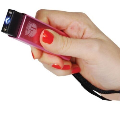 MINI POLICE Self Defense taser Stun Gun PINK KEYCHAIN Recharge LED Flashlight
