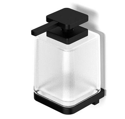 Milli GLANCE WALL MOUNT SOAP DISPENSER 350ml Frosted, Matte Black/Glass