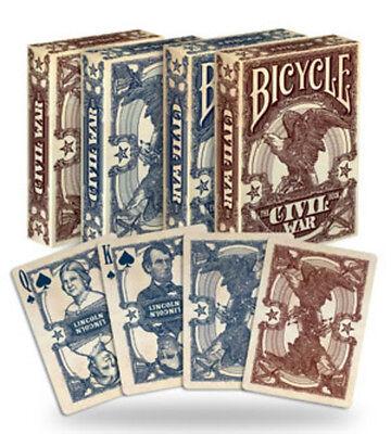 2 Decks Bicycle Civil War Red & Blue Poker Playing Cards Brand New Decks