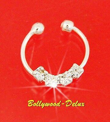 Bollywood Septum Nasenclip Nasenring Strass Fake Piercing Silber Farbe