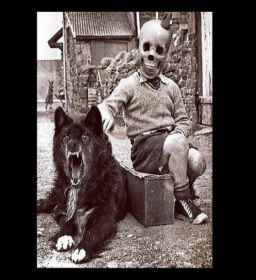 Scary Carnival (Vintage Freak Child Midget Wolf  PHOTO Creepy Dog, Scary Man, Weird Circus)