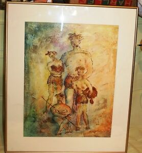 """ARCHIE EICHHORN ORIGINAL PAINTING THE FAMILY """"ON THE CAVE WALL"""""""