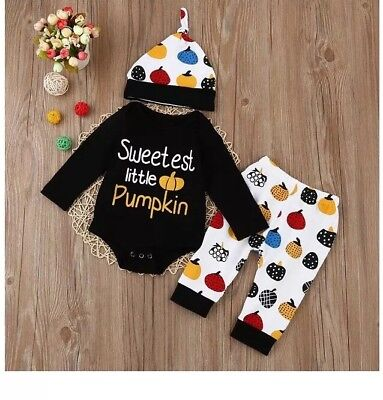 BABY GIRL PUMPKIN OUTFIT Three PIECE COSTUME 18MO Hat](Baby Girl Pumpkin Costume)