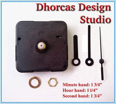"""(#011) Quartz Clock movement kit 1/4"""" threaded quiet motor & 1 3/4"""" black hand"""