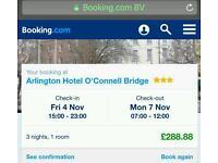 3 night stay in Dublin hotel in november 2016