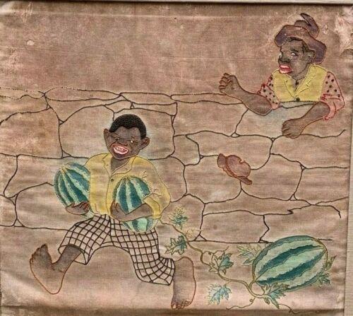Antique Embroidery Old Needlework Sampler Rare Black Americana Folk Art Framed