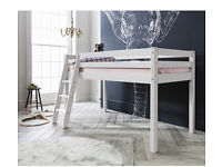 White wooden midsleeper cabin kids bed