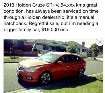 2013 Holden Cruze Hatchback Albury Albury Area Preview