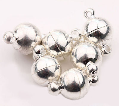 5Sets Silver Plated Ball Round Strong Magnetic Clasps Jewelry Findings 11x6mm