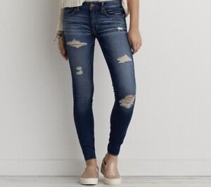 American Eagle skinny, ripped, dark-wash jeans. size 00.