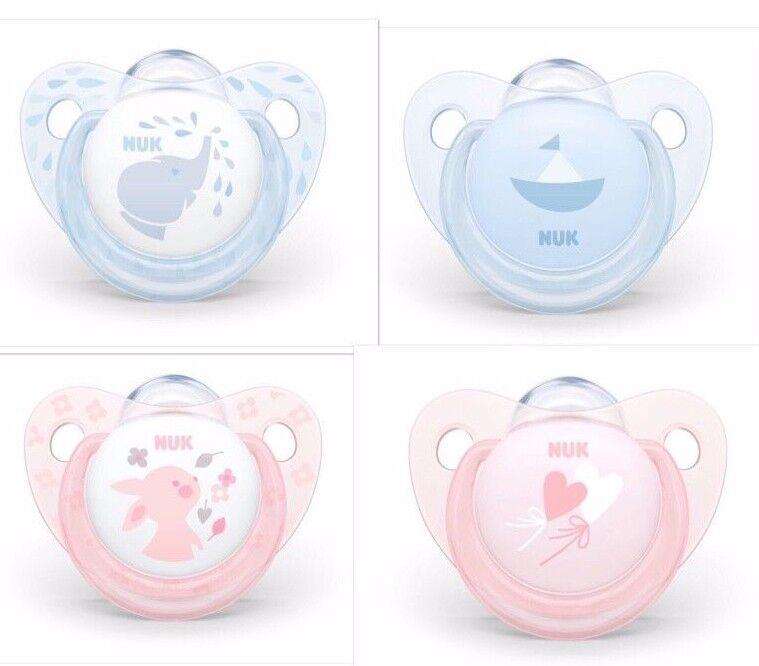 NUK Silikon Beruhigungssauger Schnuller Baby Rose&Blue Gr.1, Gr.2 mit Ring Neu