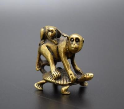 Chinese Pure brass Turtle back monkey small statue - Monkey Chinese