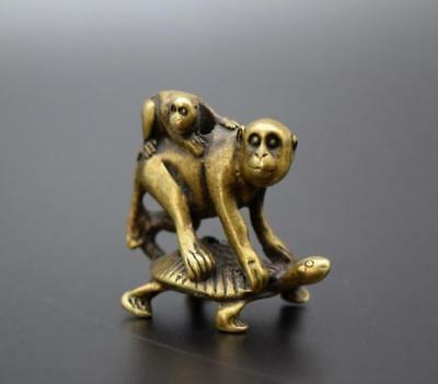 Chinese Pastoral Style Pure Copper Brass Bronze Turtle Back Monkey Small Statue - Monkey Chinese