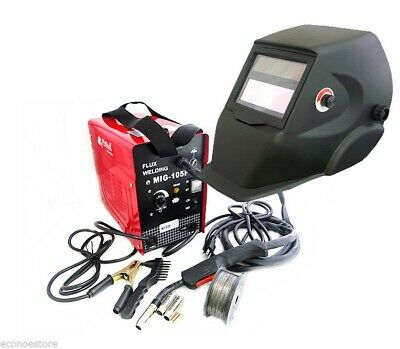 Mig 100 110v Flux Core Welding Machine No Gas Welder Auto Darkening Helmet