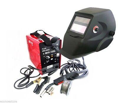 Mig 100 110v Flux Core Welding Machine No Gas Welder Auto Darkening Helmet