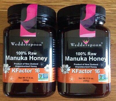 Wedderspoon Organic Raw Manuka Honey Unpasteurized KFactor 16 / 17.6 oz / 2 Jars
