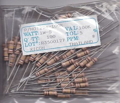 X10 Resistor 100k Ohm 1w 5 Carbon Film Fixedpower Axialbrand New