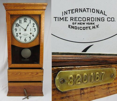 Antique INTERNATIONAL TIME RECORDING Co. clock oak large wall RUNS & WILL SHIP!