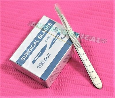 100 Scalpel Blades 15cscalpel Handle 3 Wscale Surgical Dental Ent Instrument