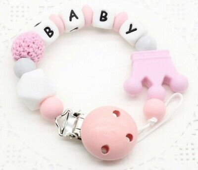 Free Personalized Name Baby Pacifier Chain Clip Silicone Pacifier Clip