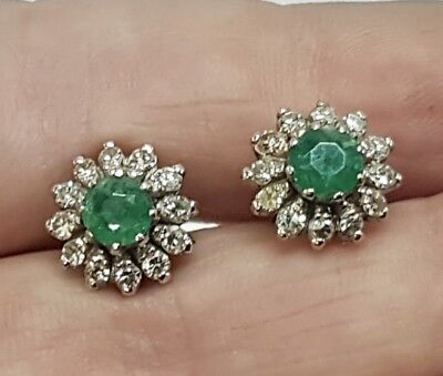 Art Deco 9 Ct White Gold Emerald And Diamond Earrings Sunflower Petals
