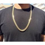 30 Inch 14K Gold Cuban Link Curb Chain With Diamond Cuts