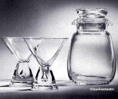 NEW in BOX STEUBEN art GLASS Teardrop COCKTAIL SHAKER SET apple martini 1950s
