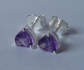 pair Stunning-6mm-natural-Amethyst- gemstones in solid 925 silver.A1#