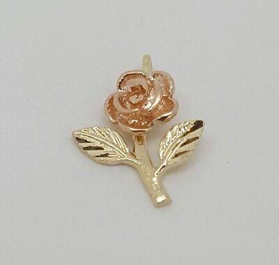 14k yellow & rose gold rose flower charm -
